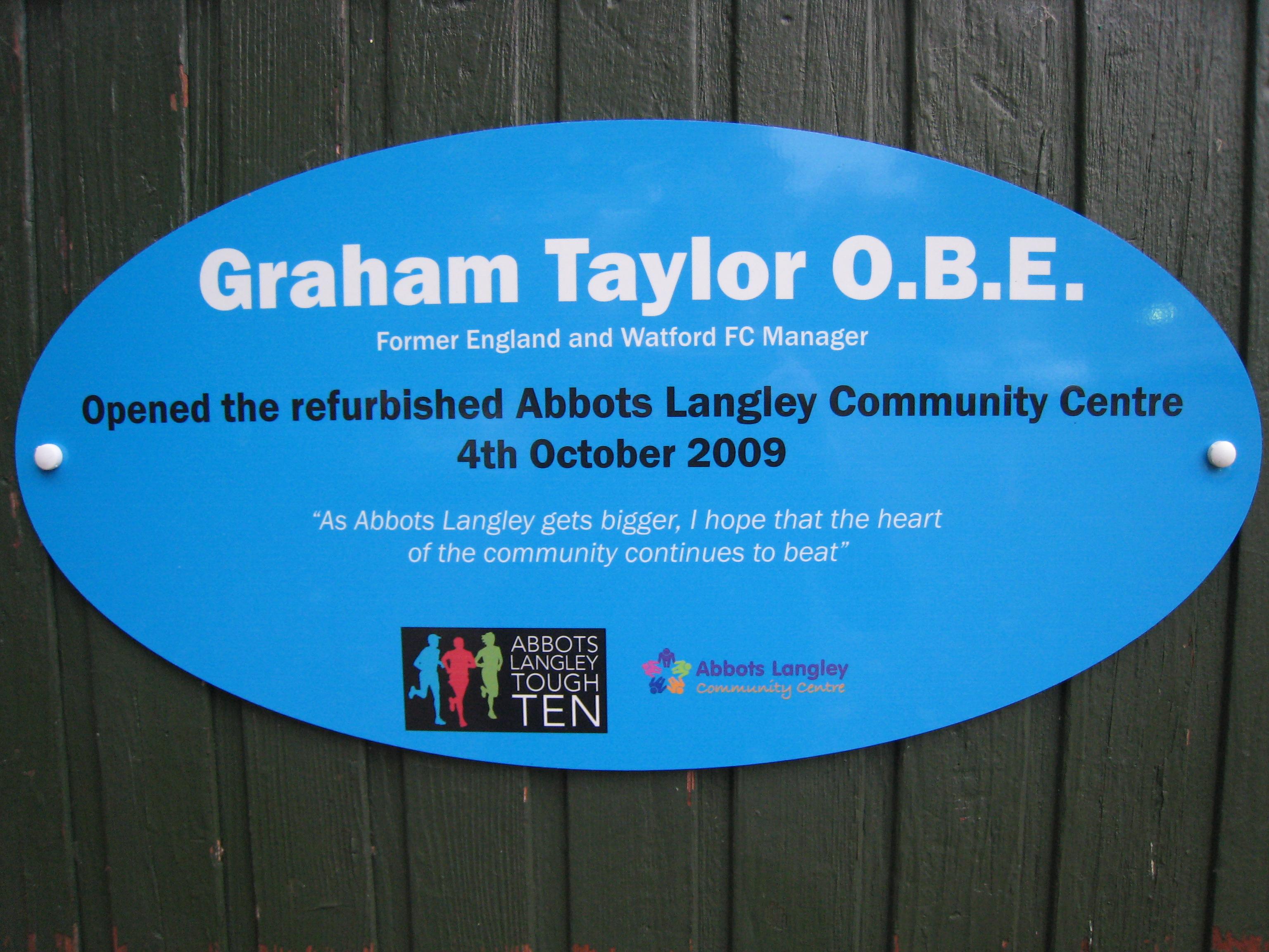 Graham Taylor Plaque